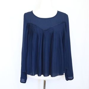 Elodie Blue Pleated Blouse  Small